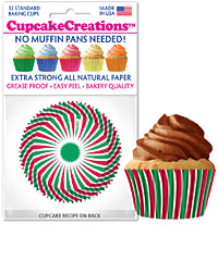 cupcake paper wrappers 9076 Red and Green Swirl
